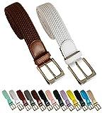 Cinturón trenzado elástico y extensible 2 piezas cinturones con hebilla para hombre y mujer. Pack de 2 colores (Marron - Blanco, 105cm)