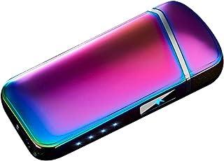 Delleu Briquet, Briquet Arc électrique USB Briquet Rechargeable Coupe-Vent sans Flamme avec indicateur de Batterie pour Ci...