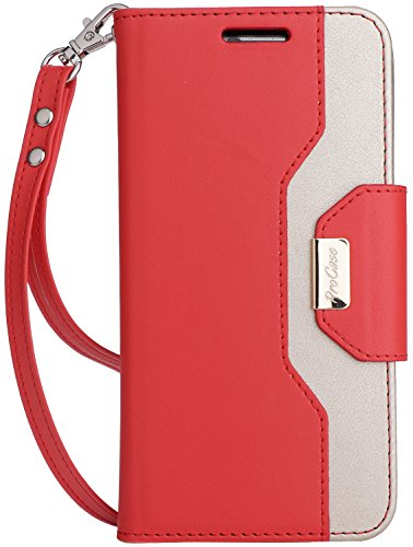 """ProCase Custodia Portafoglio LG G6, Flip Cover Custodia Protettiva con Slot Carte, Specchio Cinturino, Funzione Sostegno e Morsetto Magnetico per 5.7"""" LG G6 2017 -Rosso"""