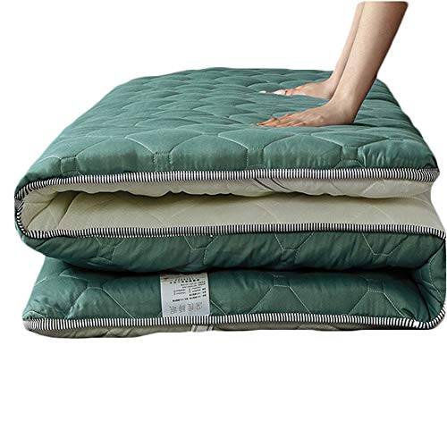 SJH Tatami Mattress - Brushed Fabric,Breathable Mattress,sponge Pad,Healthy And Comfortable,non-slip,foldable,warm And Thick,fresh Sleep(5cm)(Color:green,Size:150x200cm)