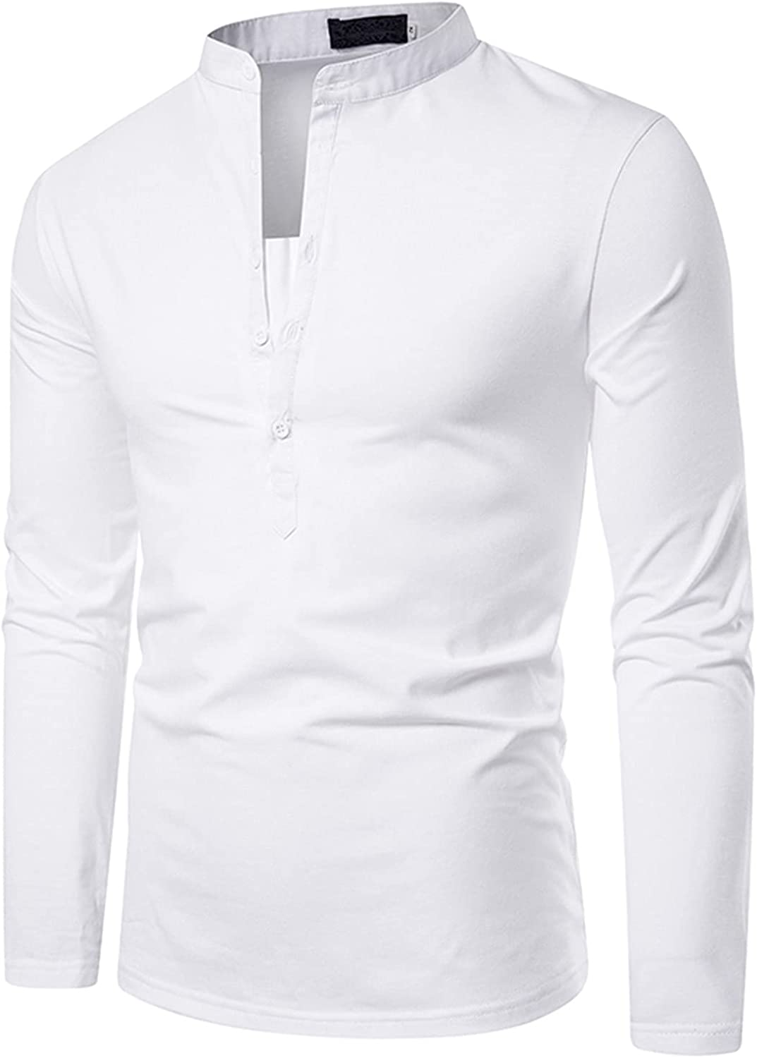 Men's Henley Shirt, Mens Casual Tailoring Double Placket Design Long-sleeved Button Shirts Autumn Casual Regular Fit Tops