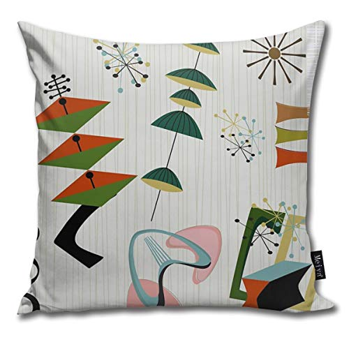 QMS CONTRACTING LIMITED Throw Pillow Cover Retro Eames-Era Atomic Inspired Decorative Pillow Case Home Decor Square 18x18 Inches Pillowcase