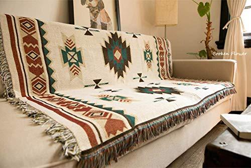 RANG - Manta Tribal etnica Geometrica Azteca Navajo, Manta para Sofa o Decoracion Bohemia, Poliester Algodon, 150X210cm(1.5KG)