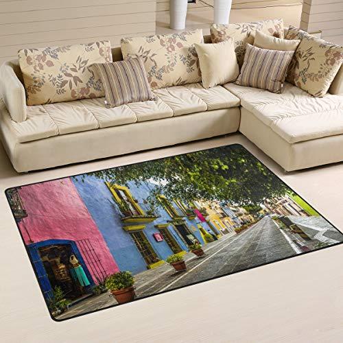LZXO Teppich für Wohnzimmer, Mexiko-Stadt-Muster, strapazierfähiger Teppich, Schlafzimmer-Teppich, Fußmatte, 152 x 100 cm, Polyester, multi, 31x20in