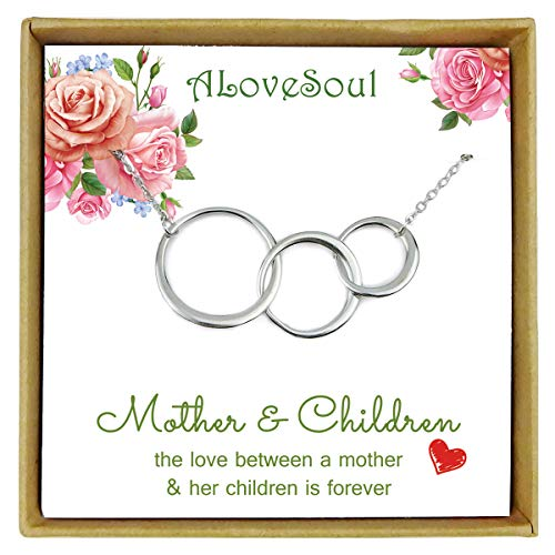 ALoveSoul Mom 2 Children Necklace, Sterling Silver Three Interlocking Infinity Circles Necklace Mothers Day Jewelry Gifts, Birthday Gifts for Mom