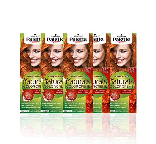 Schwarzkopf Palette Naturals Color Creme - Tono 8.77 cabello Cobrizo Intenso (Pack de 5) - Coloración Permanente – Perfecta cobertura de canas – Colores increíblemente naturales