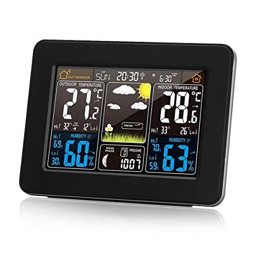 Protmex Digitale Farbvorhersage-Wetterstation mit Alarm und Temperatur/Luftfeuchtigkeit/Barometer/Alarm/Mondphase/Wetteruhr mit Außensensor PT3365