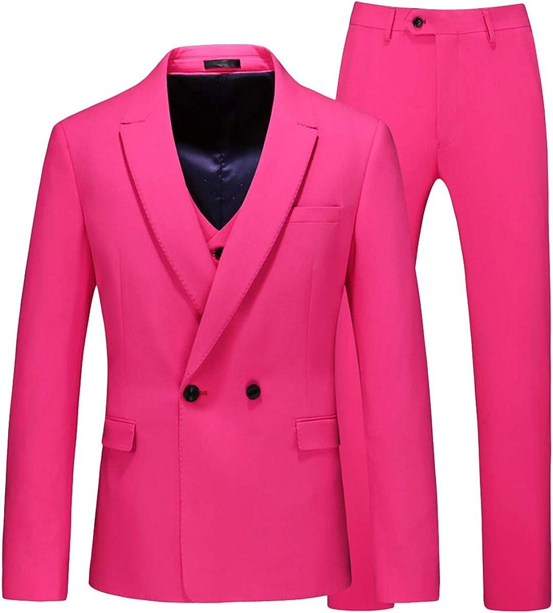 Wemaliyzd Men's 3 Piece Prom Suit Double Breasted Blazer Vest Pants