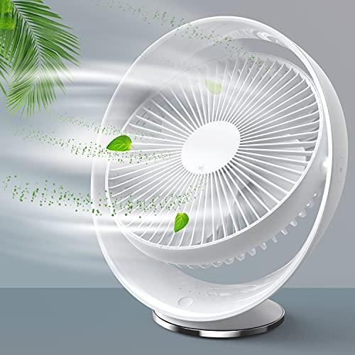 Ventilador USB Silencioso de 8 Pulgadas Blanco, RATEL Ventilador de enfriamiento Recargable, Viajes de Oficina en el hogar al Aire Libre, Ajustable en 3 velocidades, rotación de 60 °