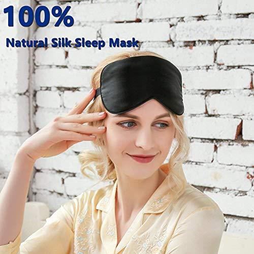Silk Sleeping Eye Mask with Adjustable Strap, Travel,...