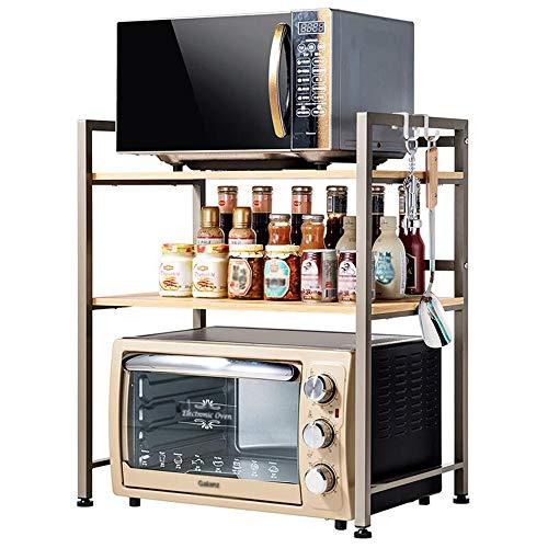Étagère de cuisine Grille du Four à Micro-Ondes 2 Couches Acier au Carbone avec Crochet Multifonctionnel (60 * 40 * 71cm) LINGZE