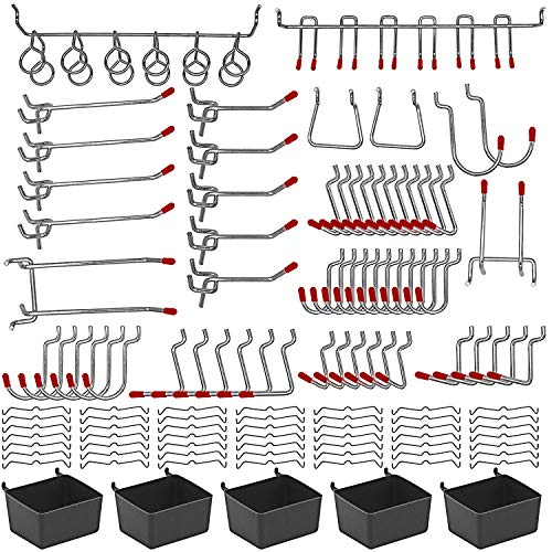 114 pcs Pegboard Hooks Assortment with Metal Hooks Sets, Pegboard Bins, Peg Locks for Organizing Storage System Tools