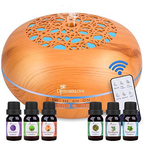 Diffuserlove Diffuser 550ML Remote Control Essential Oil Diffuser Wood...