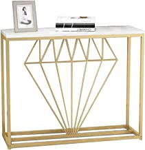 Console Table, Marble Simple Living Room Wrought Iron Entrance Console Gold Against The Wall Entrance Side Table White/Blu...