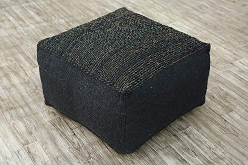 """Cotton & Leather Top Pouf, 24"""" x 24"""" x 14"""" one size, Hand-Knit Decorative and Comfortable Foot Stool and Ottoman - Black"""