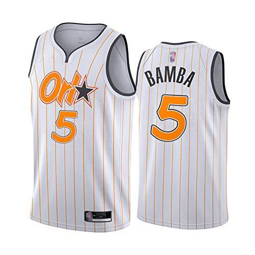 SHR-GCHAO Jerseys De Baloncesto - Men's Edition NBA Orlando Magic # 5 Muhammad Bamba Basketball Jersey Chaleco Deportivo Camiseta Sin Mangas,Blanco,XXL(185~190cm)