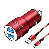 Magichome Cargador Coche USB, Cargador de Coche QC3.0 Doble Puerto con LED, Cargador Móvil Coche con Cable de Carga USB de 1M Nylon Type C para Samsung Galaxy S10 S9 S8, Note9 / 8, LG G6 V30, Rojo