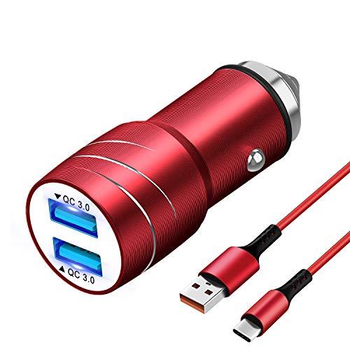 Magichome Cargador Coche USB, Cargador de Coche QC3.0 Doble Puerto con LED, Cargador Móvil Coche con Cable de Carga USB de 1M Nylon Type C para Samsung Galaxy S10 S9 S8, Note9   8, LG G6 V30, Rojo
