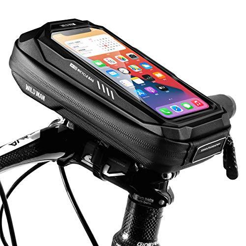 """ENONEO Soporte Movil Bicicleta Soporte Movil Moto Impermeable con Cubierta de Lluvia Soporte Telefono Bicicleta Bolsa Manillar Bicicleta hasta 6.5"""" (Negro)"""