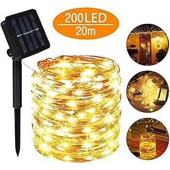 Solar Lichterketten 200 LED Weihnachtsbaumkette Außenbeleuchtung Kupferdraht