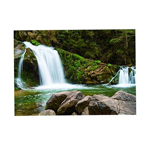 FLAMEER Aquarium Hintergrund PVC Erde Stern Aufkleber Tapete Dekoration Aquarium Vivarium, 6 Größe - Wasserfall im Wald, 61 x 30 cm