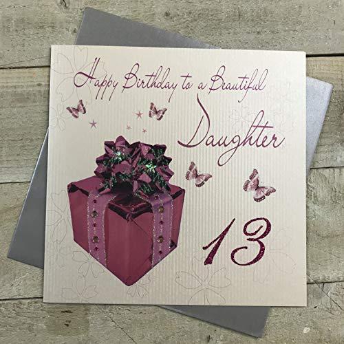 WHITE COTTON CARDS - Biglietto Per Auguri Di Compleanno, Per Ragazzina Di 13 Anni, Misura Grande, Realizzato A Mano