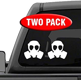 Gas Mask - TWO Pack - Vinyl Decal Sticker - White Revolution AK47