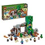 Lego 21155 Minecraft Die Creeper Mine, Bauset mit Steve, Minecraft-Schmied, Wüstenzombie, Creeper und Tierfiguren sowie TNT-Blöcken, Minecraft-Nether-Kulisse, Spielzeuge für Kinder - Lego Minecraft