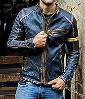 S-5Xlautumn冬ニューマンファッションオートバイPUレザージャケットスタンドパンク秋冬長袖ジッパーカジュアルジャケットメンズコートダークブラック,Dark blue,XXL