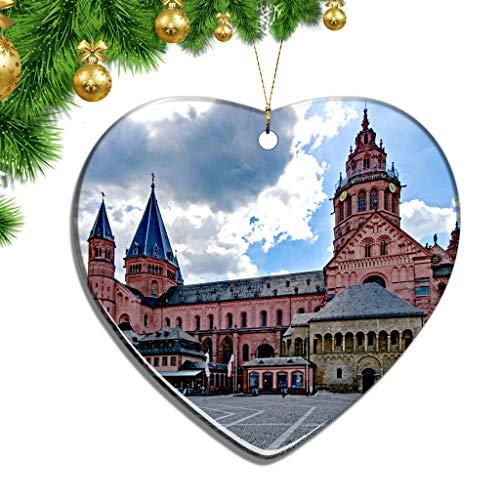 Hqiyaols Ornament Deutschland Mainzer Dom Weihnachten Zierschmuck Ornamente Keramik Blatt Souvenir Stadt Reise Geschenk Baum Tür Fenster Decke Deko