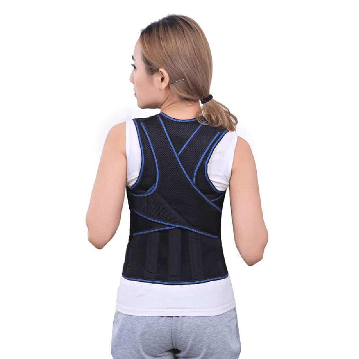 XJBHD Back Posture Brace Corrector, Adjustable Shoulder Lumbar Waist Support Belt for Women, Improve Posture, Prevent Slouching, Pain Relief