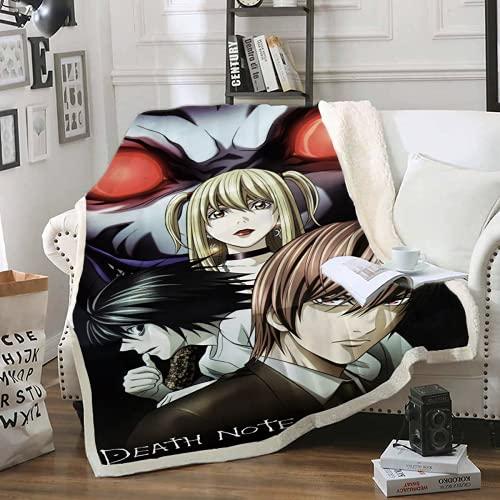 QWAS Manta Death Note con diseño de impresión 3D, para sofá, sillón y cama, 1,150 x 200 cm