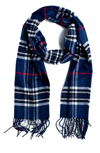 Plum Feathers Super Soft Luxurious Cashmere Winter Scarf (Navy Blue)