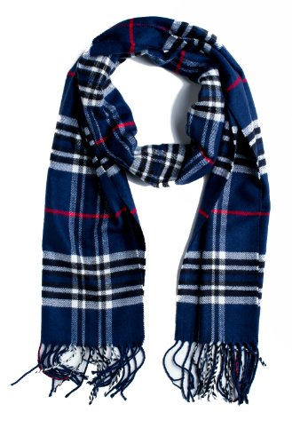 Plum Feathers Super Soft Luxurious Cashmere Winter Scarf (Navy Blue)