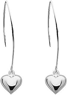 925 Solid Sterling Silver Dangling Heart Threader Drop Earrings - Long Dangle Minimalist Formal Jewelyr