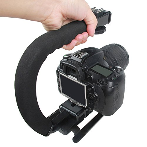 Estabilizador video para cámaras y videocámaras, soporte de mano forma C manija con tornillo rosca 1 4  estabilización forma U para filmación Soporte para DSLR Mango video acción Hand Grip Monopod