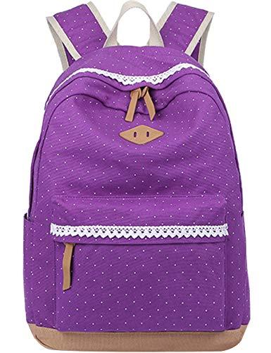 Leichte Schulrucksack mit Polka Dots Nette Canvas Schultaschen Damen Mädchen EXTRA Groß Kinderrucksack Daypacks Rucksäcke Modische mit Laptop Fach 33 * 45 * 17 cm – Little Princess (Lila)