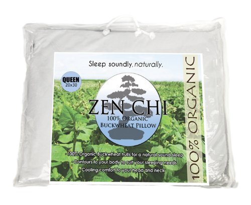 Zen Chi Organic Queen Size Buckwheat Pillow for Sleeping (20'X30') w Natural Cooling Technology...
