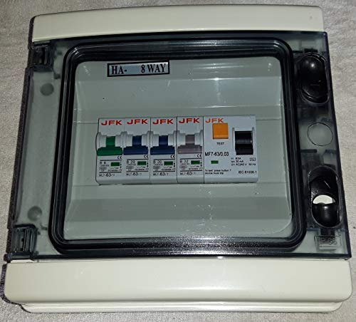 Garage Consumer Unit IP65 4 Way Fuse Box Fitted with RCD 63amp 30ma + 1X6amp & 3X32amp mcbs