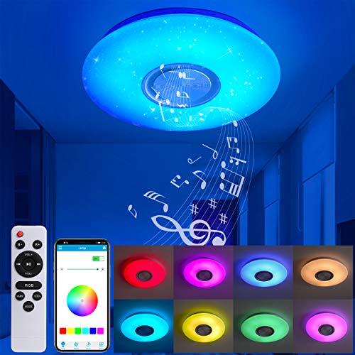 MOONSEA 24W Lámpara LED techo con altavoz Bluetooth, mando y app control cielo estrellado RGB cambio de color lámpara de techo para salón, dormitorio, habitación de los niños