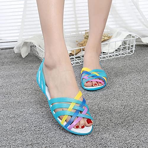 NISHIWOD Zapatillas Casa Chanclas Sandalias Sandalias De Mujer Caramelo Zapatos De Mujer Peep Toe Stappy Beach Valentine Rainbow Zuecos Zapatos De Gelatina Mujer Pisos 5 Azul
