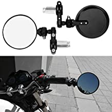 Universal 1 pair Round Black Convex Motorcycle Handle Bar End Mirrors For Honda GROM MSX125