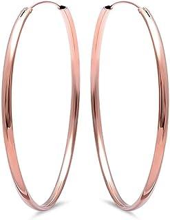 Plain Round Silver Hoop .925 Sterling Silver Earrings SEP5334