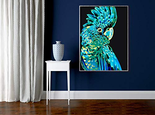 Wall Art Papegaai Canvas Afdrukken Australische Vogel Wall Art Navy Blue Cockatoo Animal Black and White Picture Poster Home Decor A 30x40cm No Frame