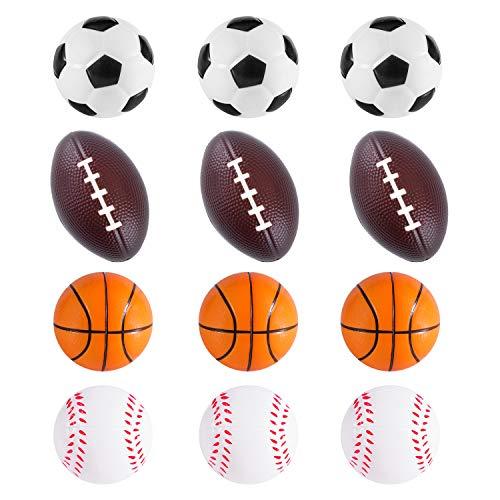 Mini Foam Sports Balls 12 Pack Balls for Kids Adults Mini Baseball Football Basketball Soccer Stress Ball Bulk Toy Little Big Game Party Decoration Balls Small Foam Relaxable Balls (Assorted)