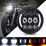 """SUPAREE 5-3/4"""" 5.75 Inch LED Headlight with Halo DRL Turn Signal for Dyna Street Bob Super Wide Glide Low Rider Night Rod Train Softail Deuce Sportster Iron 883"""