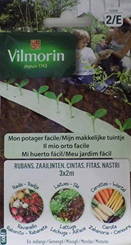 Vilmorin 3 Cintas Semillas Lechuga, RABANITO y Zanahoria (Cultivo ...