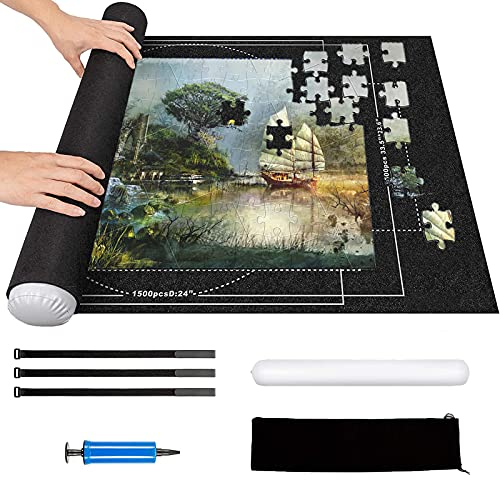 Tapis de Puzzle 2000 pièces - Rangement Roll up Rouleau Feutre Tapis pour Puzzle, Tapis Puzzle Gonflable (Noir)