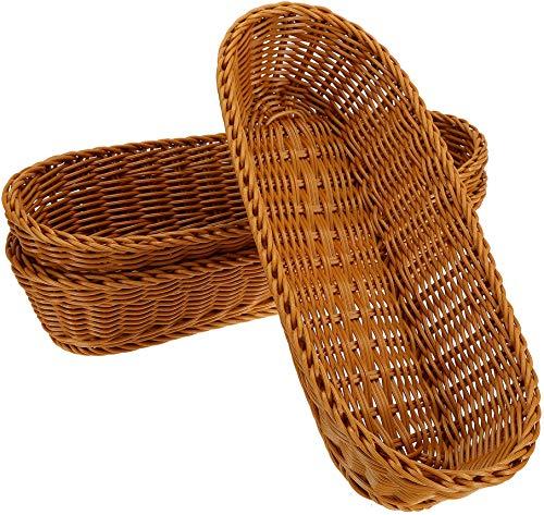 WUWEOT 3 Pack 14' Poly-Wicker Bread Basket, Long Woven Tabletop Food Serving Basket, Restaurant Serving/Diplay Baskets for Fruit Vegetables, Brown