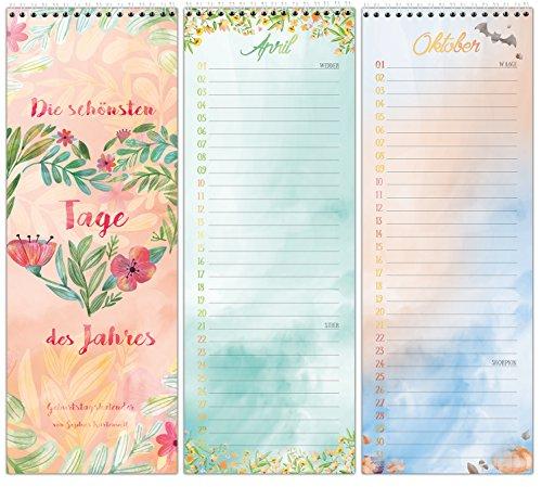 Geburtstagskalender mit Spiralbindung - Immerwährender Wandkalender - In liebevollem, farbenfrohem Design für alle wichtigen Tage im Leben - von Sophies Kartenwelt